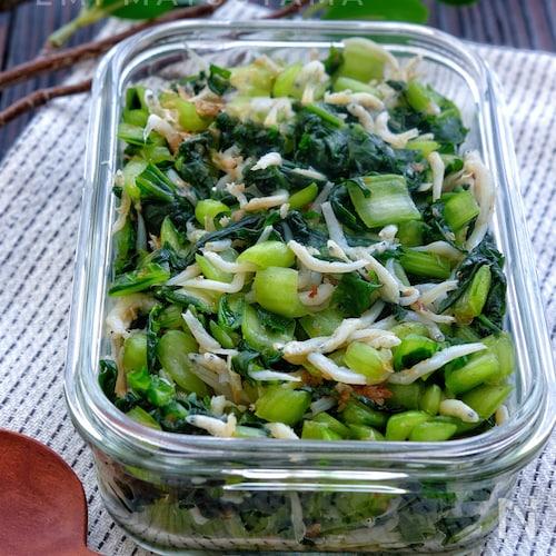 万能常備菜*塩もみ小松菜としらすのおかか和え*