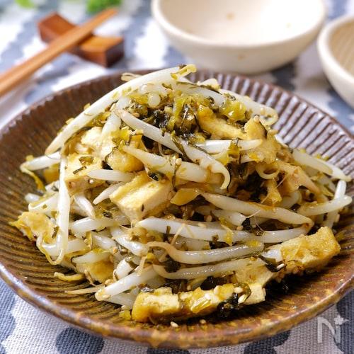 余った高菜で簡単おつまみ♡『高菜ともやしの油炒め』