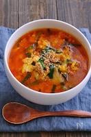 豚ニラ玉キムチの辛スープ