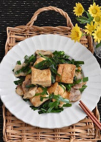 『豚バラ豆腐とにらのうま塩炒め』
