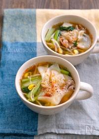 『餃子の皮入り豆もやしと小松菜と豚こまの具だくさん満足スープ』
