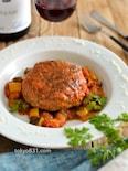 夏野菜のラタトゥイユ風ハンバーグ。季節野菜たっぷりのおかず!