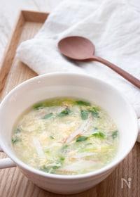 『調理時間5分!ふんわり卵が美味しい♪豆苗とかにかまの卵スープ』
