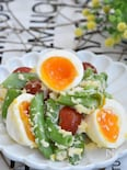 スナップえんどうと卵のチーズサラダ