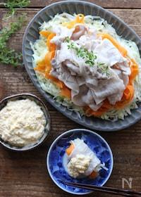 『とろーり卵ソースで食べるコンソメ風味の豚しゃぶホットサラダ』