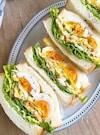 野菜たっぷりコールスローサラダとゆで卵のサンドイッチ