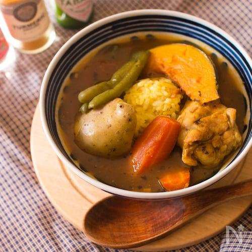 ターメリックライス&具を一緒に作るスープカリー【炊飯器】