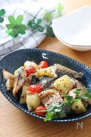 超簡単お手軽おつまみ♡塩鯖とポテトのガーリックバジルチーズ