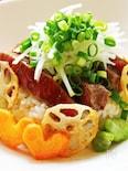 野菜たっぷりステーキ丼 柚子こしょう風味☆
