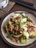 豚こま切れ肉と春野菜の粒マスタードソテー