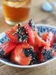 材料2つ。トマトと海苔のわさびナムル【作り置き・大量消費】