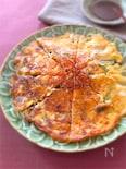 もやしニラキムチーズのかりっもちっ豆腐チヂミ