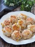 混ぜて油なしで焼くだけ簡単♡鮭コーンチーズのはんぺん丸め焼き