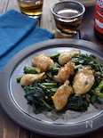 牡蠣とほうれん草のピリ辛オイスターソース炒め