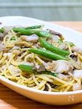 タラと舞茸の麺つゆパスタ