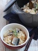 秋刀魚のアヒージョ炊き込みご飯。