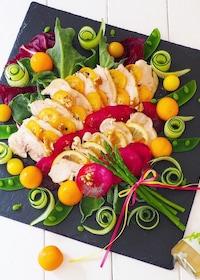 『金柑と、レモン🍋鶏ハムのパワーサラダ』