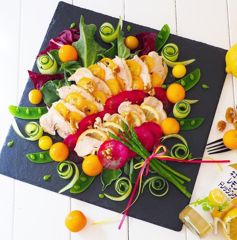 金柑・レモン・鶏ハムのパワーサラダ