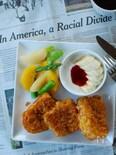 コーンフレークフレンチトーストとメイプルシロップのサラダ。