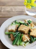 小松菜と厚揚げの生姜じょうゆ炒め
