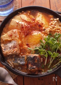 『サバ缶で簡単☆豆苗☆チゲ鍋☆一人鍋♬DHA豊富!!』