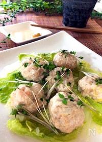 『白菜と食べる♪鶏ひき肉とエビの蒸し肉団子』