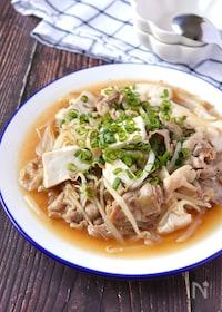 『コスパ&満足感最強♡豚こま肉と豆腐のトロリ中華もやしあんかけ』