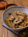 レンジで簡単!*ごぼうと蓮根と鶏肉のコクうま煮*