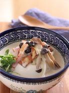 きのことベーコンの豆腐豆乳スープ