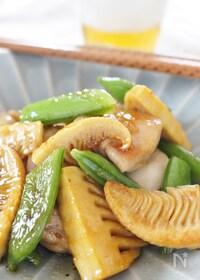 『今が旬!タケノコ&スナップえんどうと鶏肉のオイスター炒め』