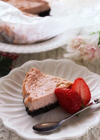 『甘酸っぱくて爽やか♡水切りヨーグルトと苺のチーズケーキ』