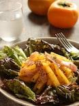 柿と生ハムのチアシードドレッシングサラダ