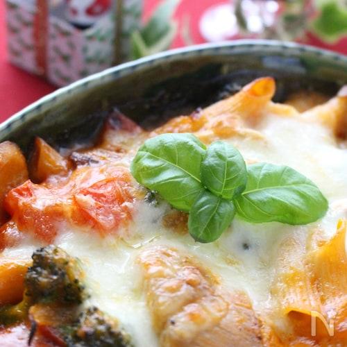 鶏肉と野菜のナポリタン風味のグラタン
