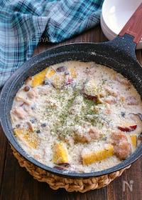 『簡単ホワイトソースで!鶏肉ときのことさつまいものクリーム煮』