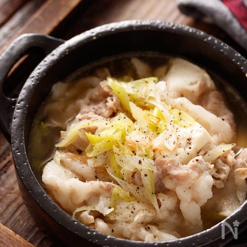 豚バラ豆腐のネギ塩スープ【#塩ラーメン風 #おかずスープ】