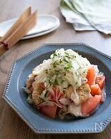 チキンとトマトのおかずサラダ・やみつき新玉ねぎドレ