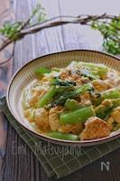 【らくレピ】豆腐と小松菜のチャンプルー風チーズ卵炒め