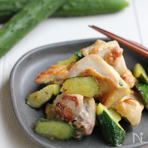 鶏ときゅうりのレモンわさび炒め。