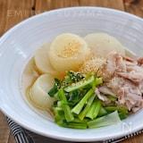 レンジで出来ます!*大根と豚バラと小松菜の煮物*白だし使用
