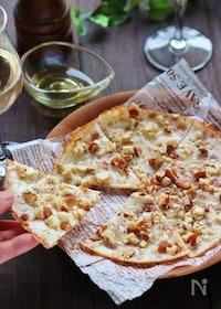 『カリカリ!スライスチーズとナッツのピザ風』