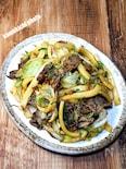 太麺で作る「牛肉焼うどん」