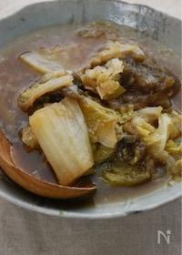 『白菜とたっぷりねぎのトロロ昆布煮』