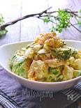 アボカドとむき海老とゆで卵の梅塩昆布マヨサラダ