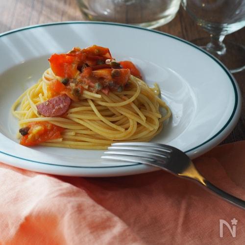 トマトとサラミのパスタ