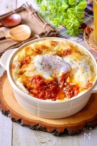 レンジで作るホワイトソース♡『とろ~り卵のミートドリア』