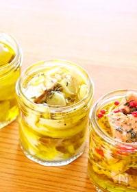 『手作りツナの作り方でとサーモンと塩サバのオイル漬けのレシピ』