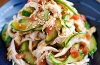 【茹で鶏ときゅうりの梅肉わさび和え】さっぱり夏レシピ♡