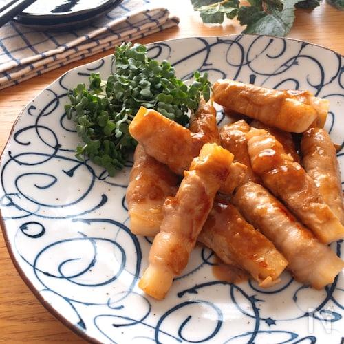 冷めても美味しい・お弁当にも♡長芋の豚ロース巻きポンマヨ炒め