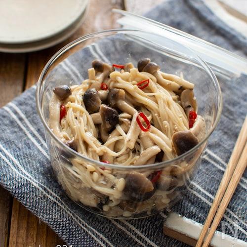 きのこのピリ辛ナムル。レンジで簡単!副菜、あと一品のおかず。