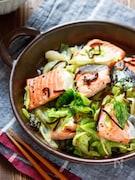 鮭とキャベツの塩昆布バター蒸し【#レンジ】